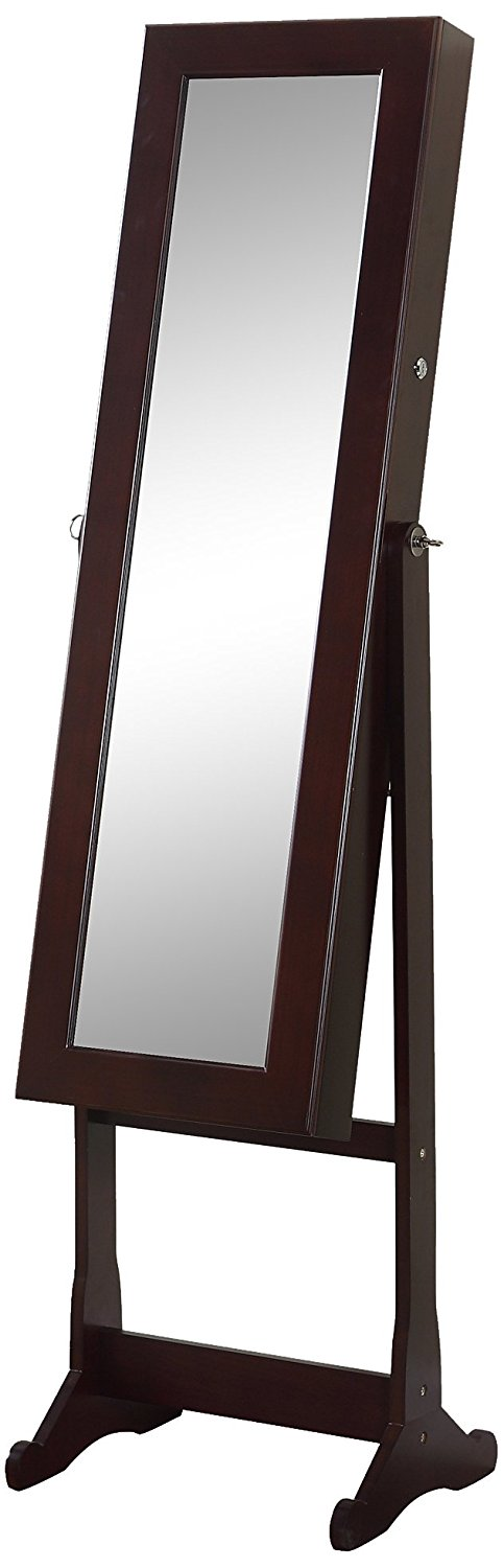 Artiva USA - Espresso Wood Finish – Free Standing Cheval Mirror and Jewelry Armoire Display