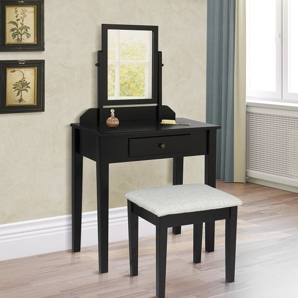 Best Choice Products Vanity Table Set W Stool Bedroom Home Furniture- Black