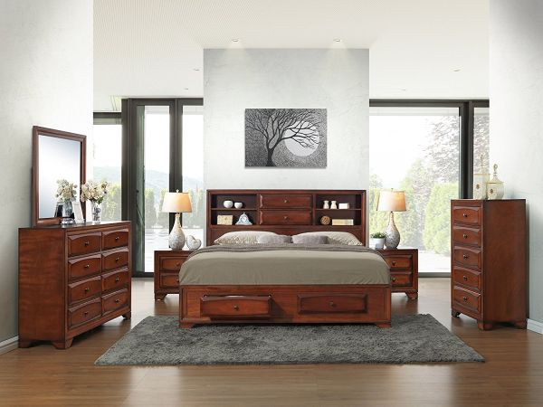 Roundhill Furniture Asger Antique Oak Finish Wood Bed Room Set including King Storage Bed, Dresser, Mirror and 2 Night Stands