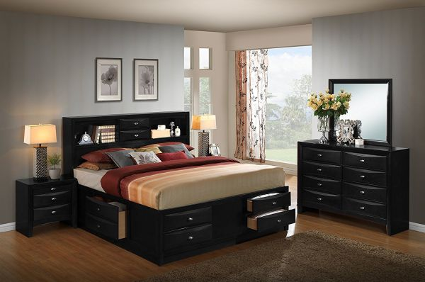 Roundhill Furniture Blemerey 110 Wood Storage Bed Group with Queen Bed, Dresser, Mirror and 2 Night Stands, Black