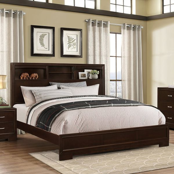 Roundhill Furniture Montana Modern Wood Bookcase Bed, King, Walnut