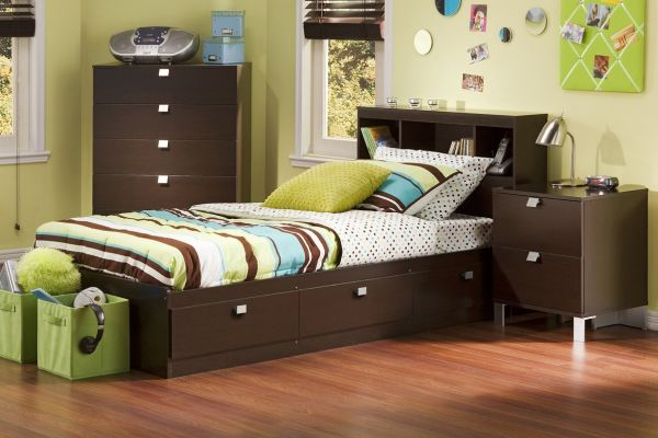 South Shore Cakao 3-Piece Kids Bedroom Sets under 500 with Bookcase Headboard Twin Chocolate
