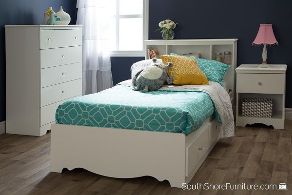 South Shore Crystal White Kids Twin Wood Captains Storage Bed 3 Piece Bedroom Set