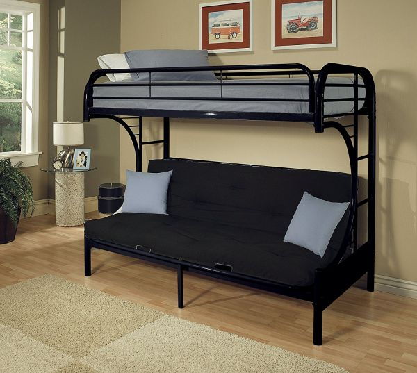ACME Furniture 02093BK Eclipse Futon Bunk Bed, Twin X-Large Queen, Black