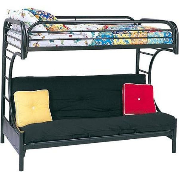 ACME Furniture Eclipse Twin over Full Futon Bunkbed, Black, Twin Top Bunk over Full Futon Bottom Bunk