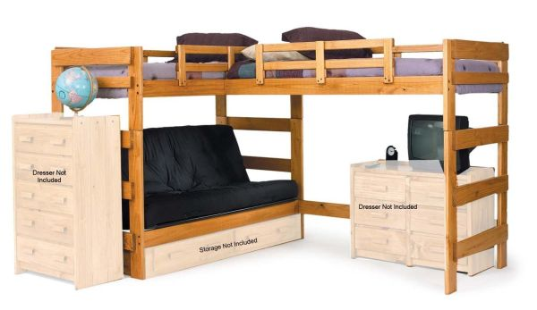 Chelsea Home Furniture L Shaped Futon Loft Bed with Underbed Storage Honey