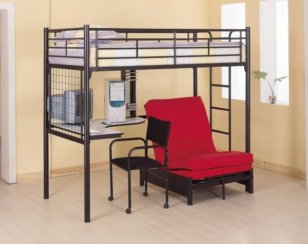 Coaster Fine Furniture 2209 Metal Bunk Bed with Futon Desk Chair and CD Rack Black Finish