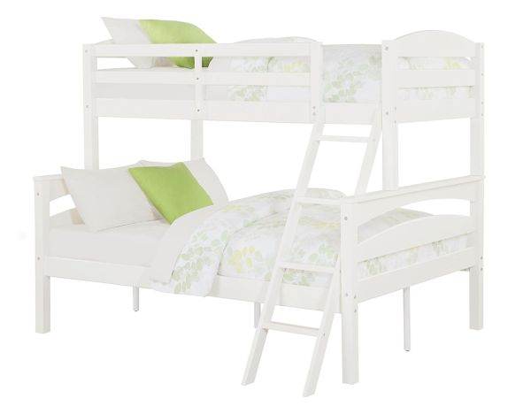 Dorel Living Brady Twin over Full Solid Wood Kids Bunk Bed with Ladder White