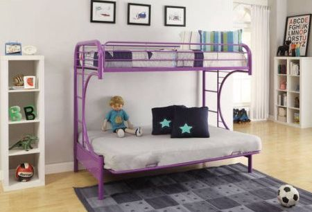 Eclipse Twin Over Full Futon Bunk Bed Purple