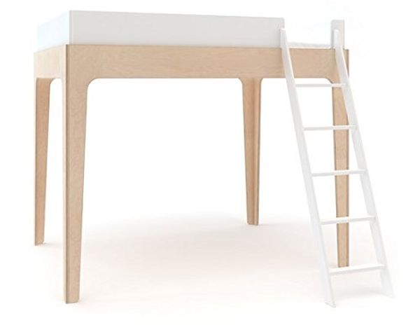 Oeuf Perch Twin Loft Bed in White and Birch