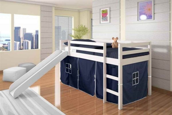 Twin Tent Loft Bed with Slide Finish White Color Blue