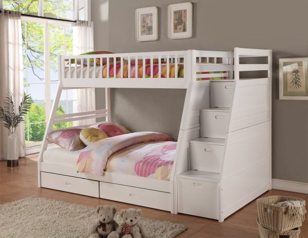 Twin full Storage Step Bunk Bed 2 Drawers White