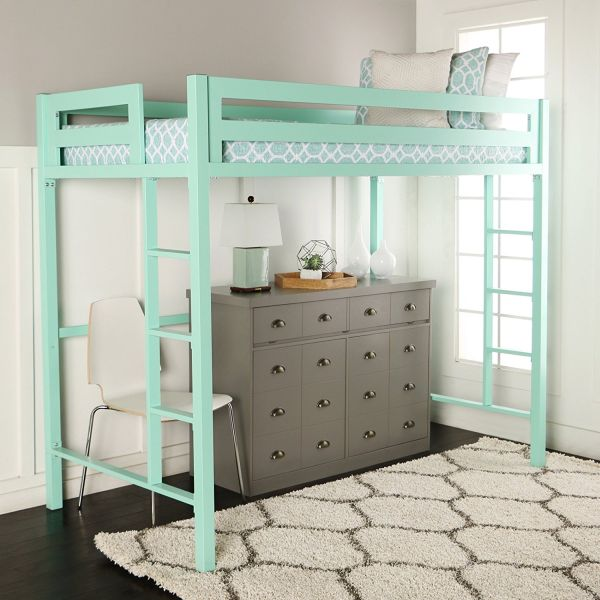 WE Furniture Premium Twin Metal Loft Bed Mint