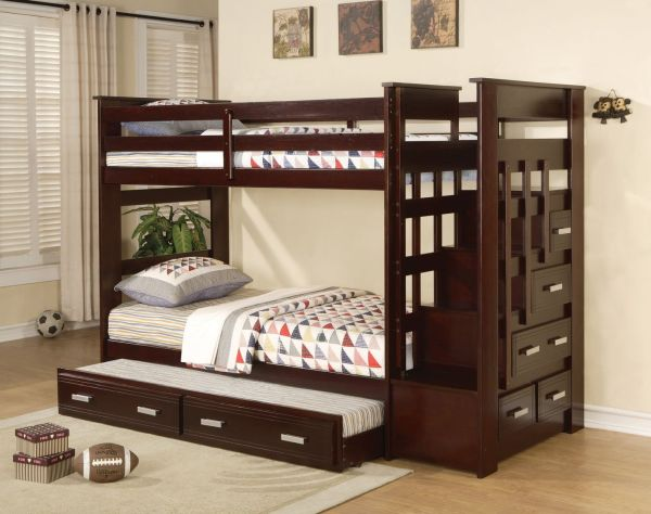 Acme 10170 Allentown Twin Twin Bunk Bed with Storage Drawers and Trundle Espresso Finish