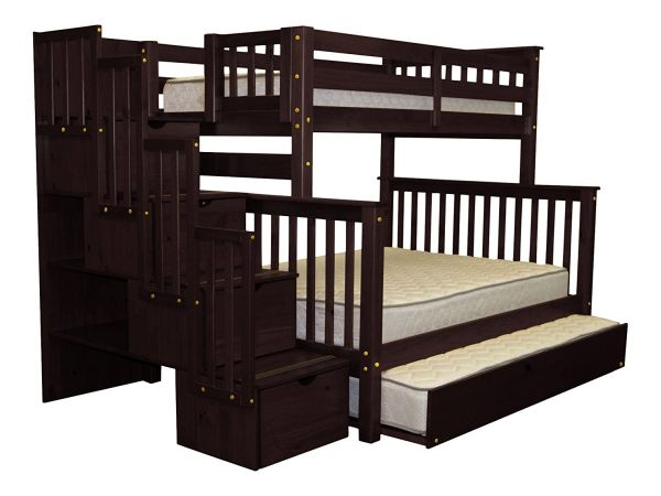 Bedz King Stairway Bunk Bed Twin over Full with 4 Drawers in the Steps and a Twin Trundle Cappuccino