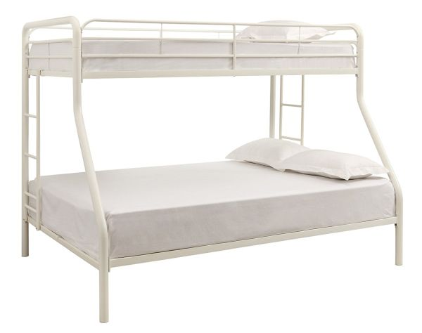 DHP Twin Sized Bunk Bed Over Full Sized Bed with Metal Frame White