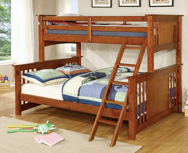 Furniture of America Denny TwinXL-Queen Bunk Bed Oak