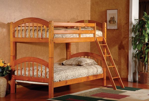 Kings Brand Furniture B125H Wood Arched Design Convertible Bunk Bed Twin Honey Finish