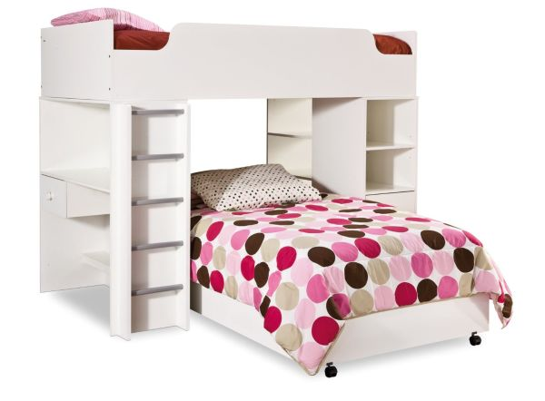 South Shore Complete Loft Bed Logik Sand Castle Collection Pure White