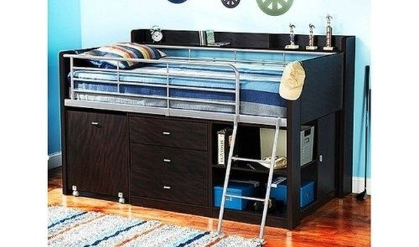 Bunk Beds with Dresser Built-In