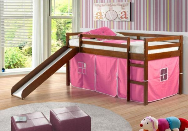 Twin Tent Loft with Slide and Slat-Kits in Light Espresso Pink Tent