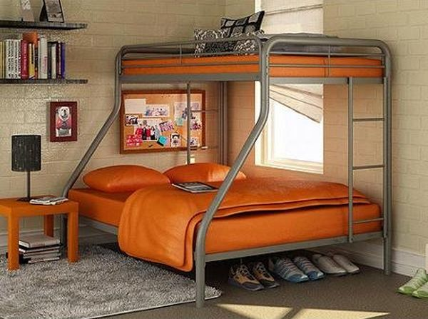 Twin Over Full Bunk Bed Metal Dorel Multiple Colors Space-Saving Design Durable Steel Frame Construction Silver