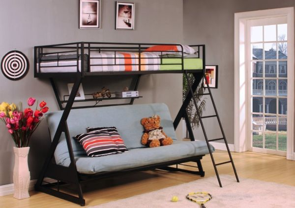 ACME Furniture 37136 Zazie Twin over Full Futon Bunk Bed with Bookshelf Sandy Black