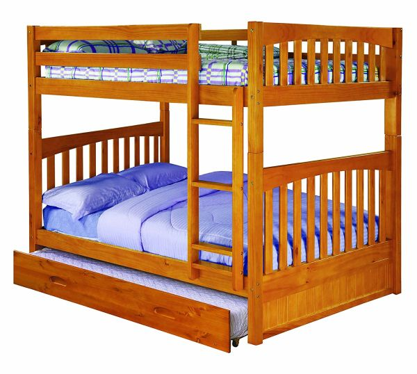 Discovery World Furniture Full over Full Bunk Bed with Twin Trundle Bed Honey