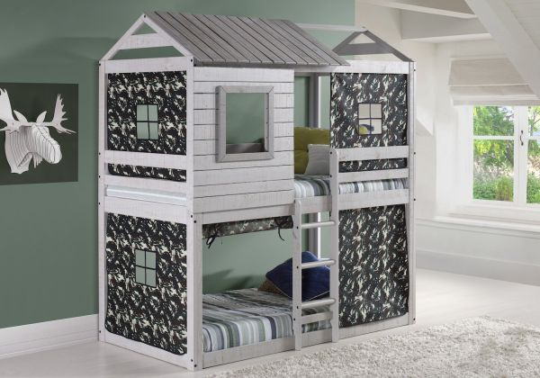 House Double Bunk Beds with Camouflage Tents Free Storage Pockets