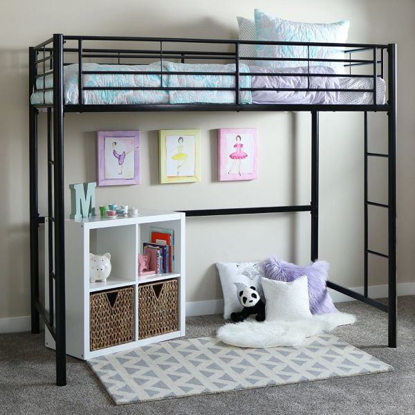 Walker Edison Twin Metal Loft Bed Black
