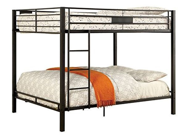 Claren Black Metal Finish Dual Queen Size Bunk Bed
