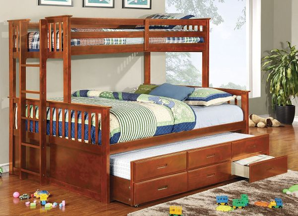 Twin Over Queen Bunk Bed with Stairs