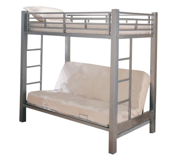 Home Source Industries 13017 Bunk Bed with Convertible Sofa to Full Sized Bed Silver