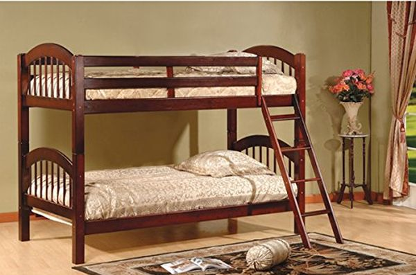 Twin Over Twin Bunk Beds - Cherry Finish Constructed of Solid Hardwoods and Veneers