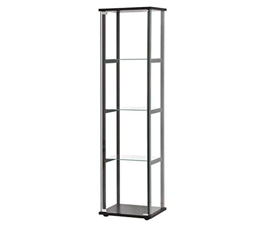 Bowery Hill Contemporary Glass Curio Cabinet in Black