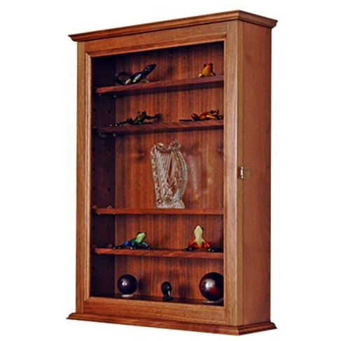 Curio Display Case Wall Cabinet-5 Adjustable Shelves Cherry Hardwood