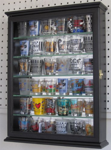Shot Glass Display Case Cabinet Holder Rack Shadow Box with Glass Door