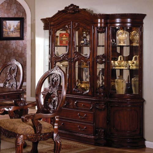 Tuscany Colonial Style Antique Cherry Finish Formal Dining China Cabinet Hutch