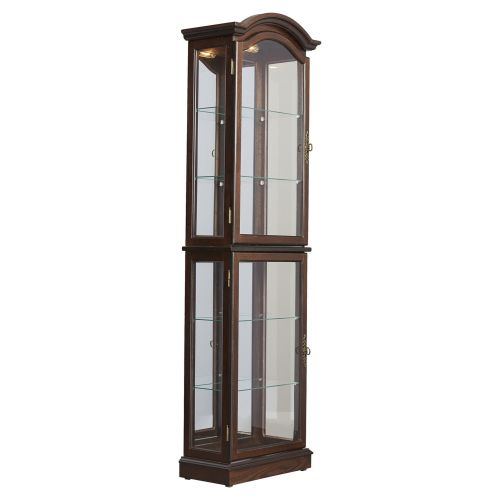 Curio Cabinet Floor Standing Lighted Glass Sides and Shelves