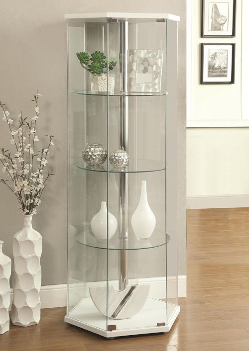 White Curio Cabinet by Hollywood Home
