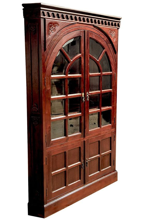 D-ART Rustic Corner Cabinet 2 Door Curio in Mahogany Wood