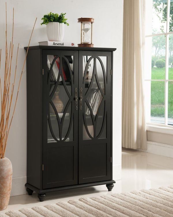Kings Brand Furniture Curio Bookcase Cabinet with Glass Doors Black