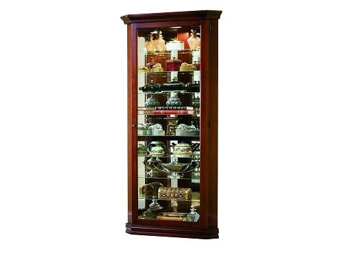 Pulaski Corner Curio 27 by 16 by 80-Inch Brown