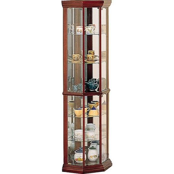 Coaster Solid Wood Glass Corner China Curio Cabinet medium brown