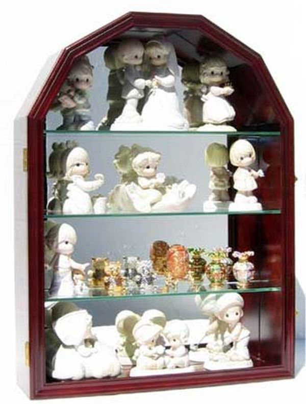 Collectible Figurine Display Case Wall Curio Cabinet Shadow Box Mahogany Finish CD16-MA
