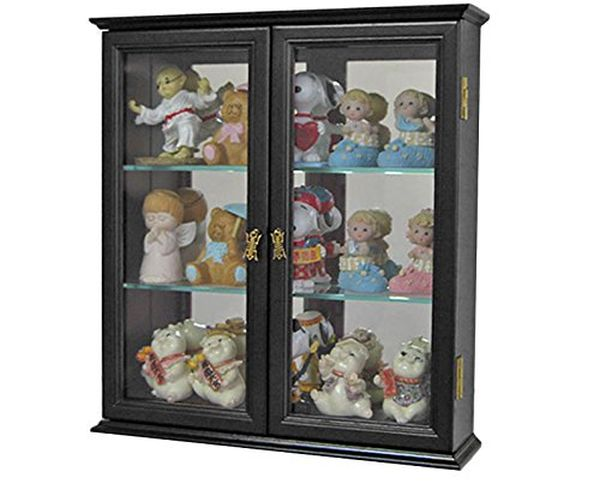 Awesome Small Wall Mounted Curio Cabinet Wall Display Case With Glass Door Black