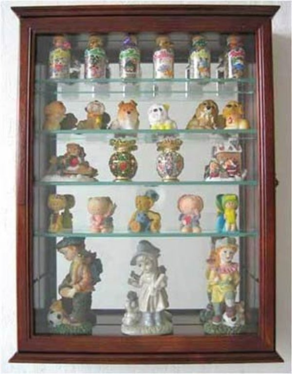 Wall Mounted Curio Cabinet with Glass Doors