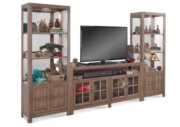 Philip Reinisch Saybrook Rustic Oak-finish Wood Glass TV Console and Pier Cabinets
