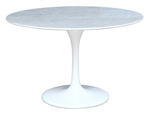 Eero Saarinen Style Tulip Dining Table with White Marble Top