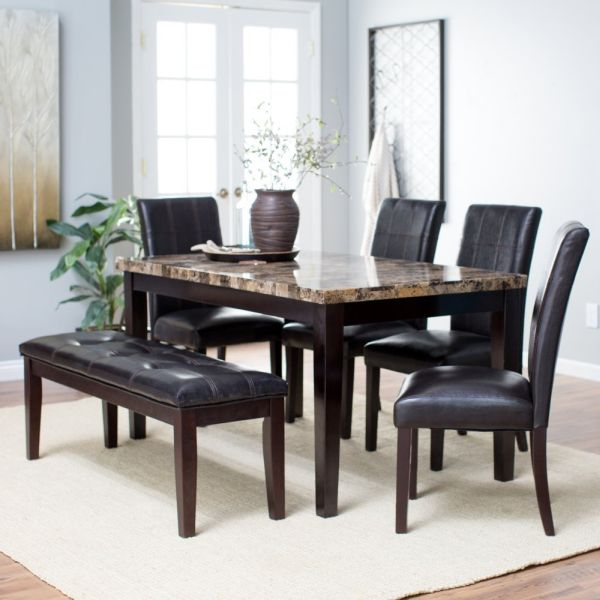 Finley Home Palazzo 6 Piece Marble Dining Table Set with Bench